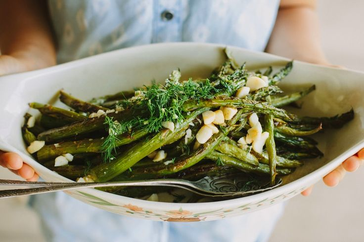 my darling lemon thyme: lemon-roasted asparagus + green bean salad with smoked paprika dressing