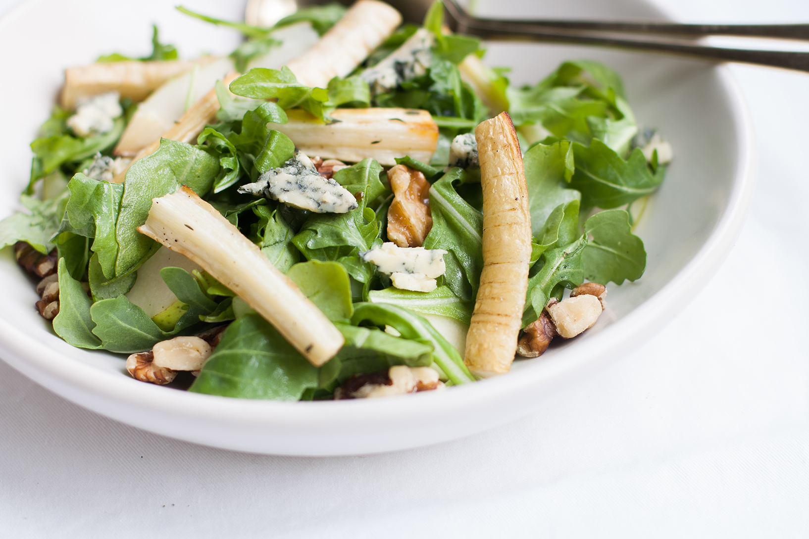 Honey Thyme Parsnip with Rocket, Pear and Blue Stilton | The Alimental Sage